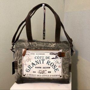 Handbags - Vintage style work bag laptop tablet canvas NWT